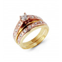 14k Rose Yellow Gold Round Bezel CZ Stone Wedding Set