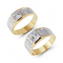 14k Two Tone Laser Cut Gold Round CZ Wedding Band Set