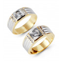 14k Two Tone Ribbed Gold Channel CZ Wedding Band Set