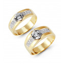 14k Yellow White Gold Round Channel CZ Wedding Band Set