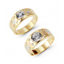 14k Tri Color Gold Triangles Round CZ Wedding Band Set