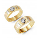 14k Three Tone Gold Accents Round Bezel CZ Wedding Set