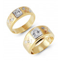 14k Tri Tone Gold Diamond Shape Detail CZ Wedding Set