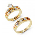 14k Yellow White Rose Gold Channels CZ Wedding Ring Set