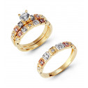 14k Three Color Gold Square Channel CZ Wedding Ring Set
