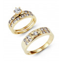 14k Solid Gold Round Bezel CZ Stone Wedding Rings Set
