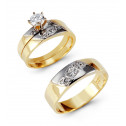 Two Tone 14k Gold Round CZ Diagonal Wedding Ring Set