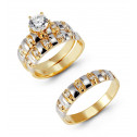 14k Yellow White Ribbed Gold Round CZ Wedding Ring Set