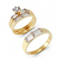 14k Yellow Band White Gold Accented CZ Wedding Ring Set