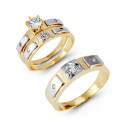 14k White Yellow Gold Round CZ Stone Wedding Rings Set