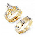 14k Bi Color Gold Diamond Shape Channel CZ Wedding Trio
