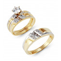 Yellow White 14k Gold Round CZ Stones Wedding Rings Set