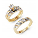 14k Two Tone Ribbed Gold Round CZ Wedding Rings Trio