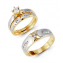 14k Solid White Yellow Gold XO CZ Wedding Rings Trio