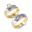 Yellow White 14k Gold Round CZ Stone Wedding Ring Set