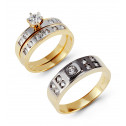14k Solid Gold White Gold Accents Round CZ Wedding Trio
