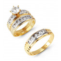 14k White Yellow Gold Round Cubic Zirconia Wedding Set