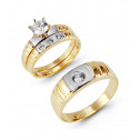 14k Two Tone Ribbed Gold Round CZ Stone Wedding Trio