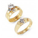 Two Tone 14k Gold Round CZ Stones Cross Wedding Trio
