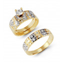 14k Solid Two Tone Gold Checker CZ Wedding Band Trio