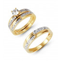 14k Two Tone Half and Half Band CZ Wedding Ring Trio