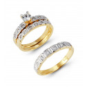 14k Two Tone Gold Square Channel CZ Stone Wedding Rings