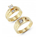 14k Solid Gold Round Cut Bezel CZ Stone Wedding Trio