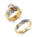 Lined 14k White Yellow Gold CZ Cluster Wedding Ring Set