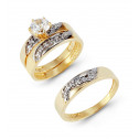 Solid 14k Two Tone Gold CZ Stone Swirl Wedding Rings