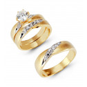 14k Two Tone Gold Round Cubic Zirconia Wedding Trio Set