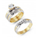 Two Tone 14k Gold Round Cubic Zirconia Wedding Rings