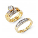14k Two Tone Laser Cut Gold Round CZ Stone Ring Trio