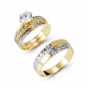 Two Tone 14k Solid Gold Leaves CZ Stone Wedding Rings