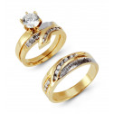 14k Solid Two Tone Two CZ Channel Wedding Rings Set
