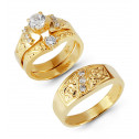 14k Gold Paisley Detail Round Cubic Zirconia Ring Set