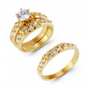 14k Solid Gold Round Prong Cubic Zirconia Wedding Rings