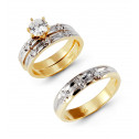 CZ Solitaire 14k Solid Two Tone Gold Wedding Ring Set