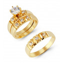 14k Solid Gold Round Solitaire CZ Wedding Ring Trio Set
