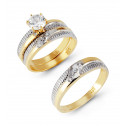 14k Solid Two Tone Gold Ribbed Band CZ Wedding Trio Set