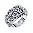 Solid 18K White Gold Scroll Fashion Round Diamond Ring