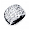 Solid 18K White Gold Extra Wide Princess Diamond Ring