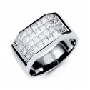 18K White Gold Mens Hot Stylish Princess Diamond Ring