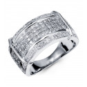 10K Solid White Gold Round Wide Full Diamond Ring Band