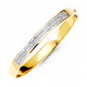14K Yellow Gold Solid Bangle Princess Diamond Bracelet