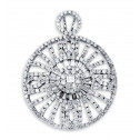 18K White Gold Fashion Round Baguette Diamond Pendant