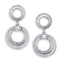 18k White Gold Round Baguette Diamond Dangle Earrings