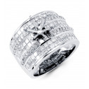 14k White Gold 3.17 Ct Princess Diamond Open Crown Ring