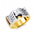 14k Yellow White Gold Band Round Baguette Diamond Ring