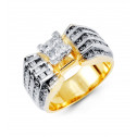 14k White Yellow Gold Princess Round Cut Diamond Ring