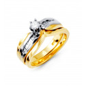 14k Solid White Yellow Gold Round Baguette Diamond Ring